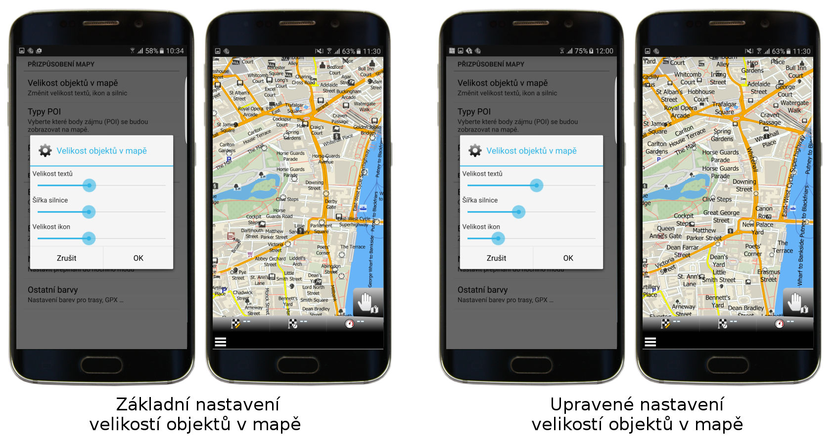 Standardní a upravené nastavení velikostí objektů v mapě v mapfactor Navigatoru