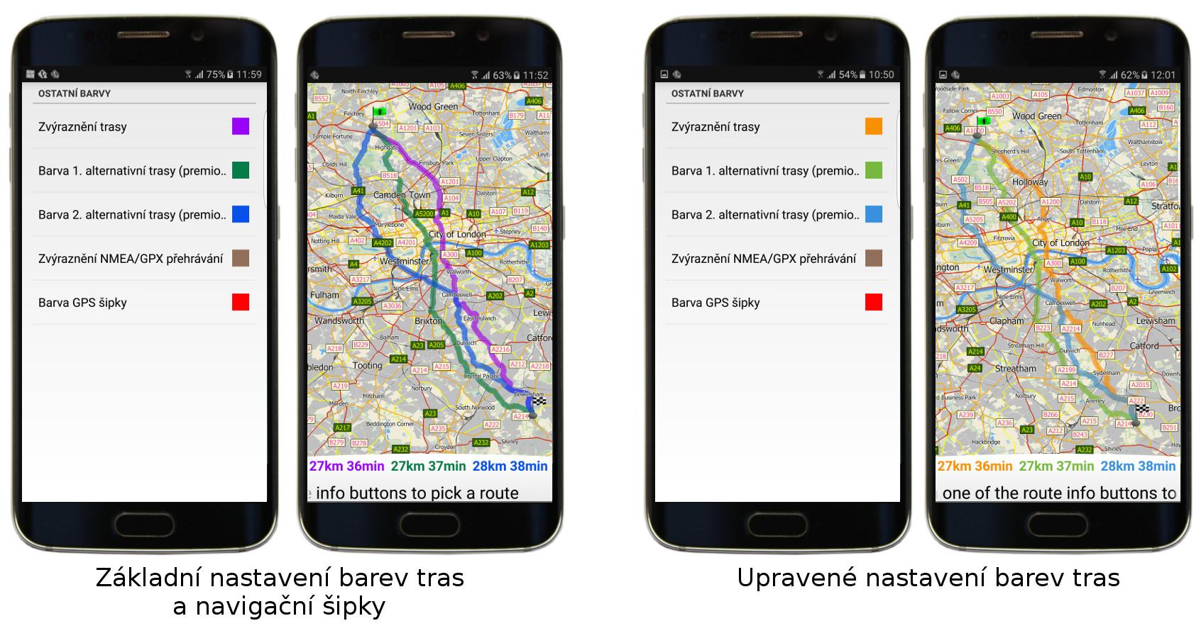 Přizpůsobení dalších barev v aplikaci mapFactor GPS Navigation