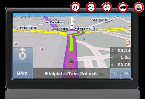 GPS navigation device Actis 8 Truck - Navigation mode