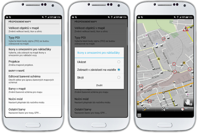 mapFactor Navigator 3.0 - Ikony s omezením pro kamiony