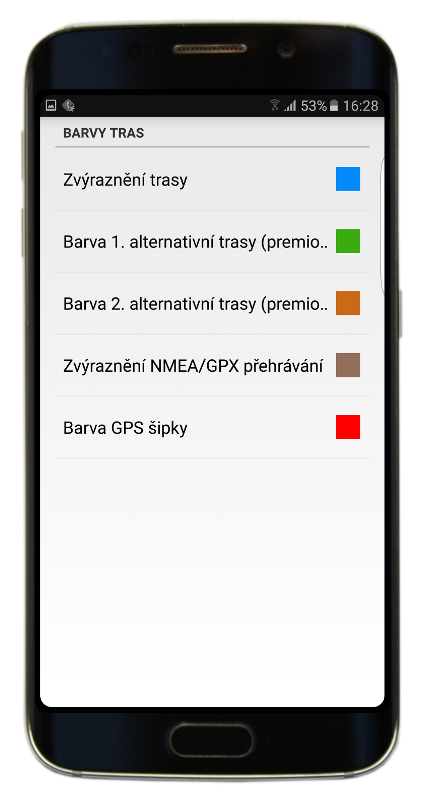 Navigator 2.2 - Barvy tras