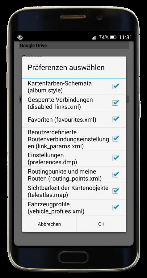 MapFactor Navigator - Auswahl der Einstellungen für Speicherung