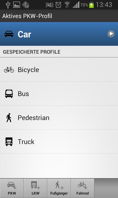 Screenshot Fahrzeugprofil