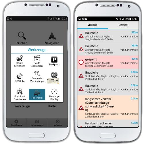 mapFactor Navigator 3.0 - HD traffic Menu und Beschränkungenliste