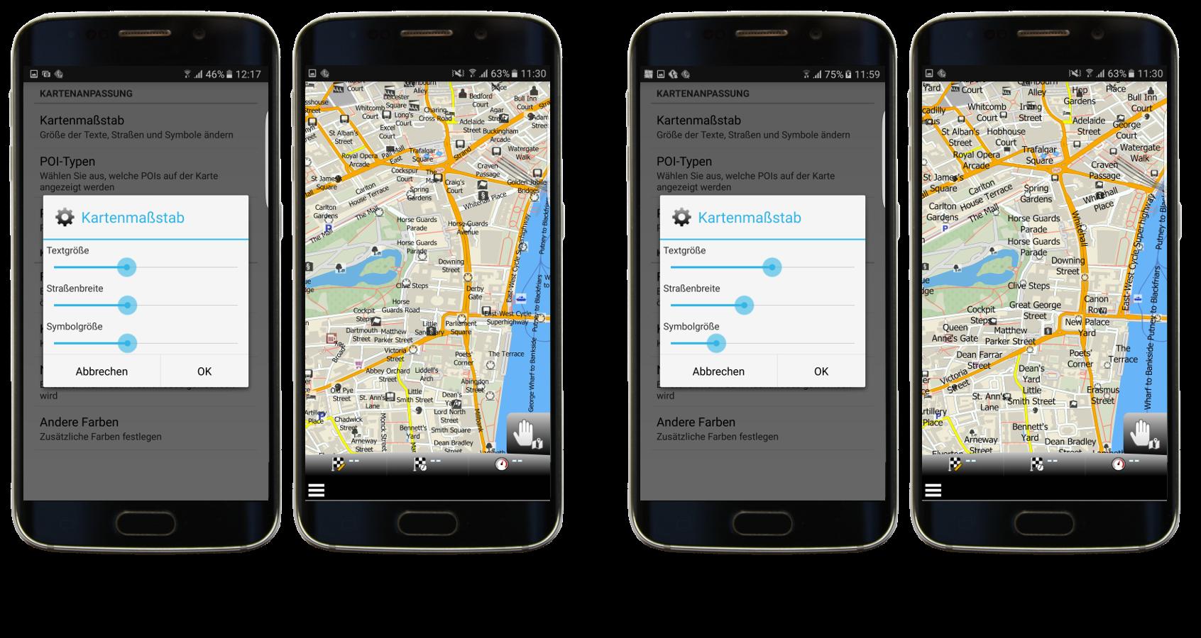 Standardmäßige und angepasste Kartenmaßstab-Einstellung in mapfactor Navigator