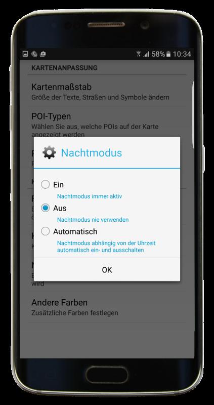Nachtmodus-Einstellung in mapFactor GPS Navigation