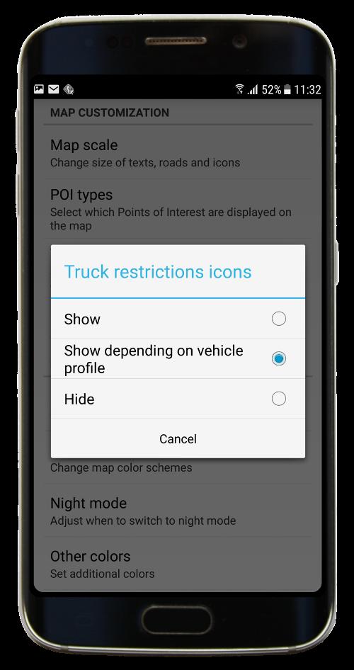 Navigator 3.0 - Map customisation menu