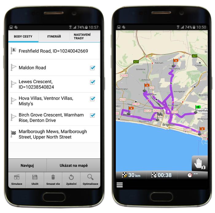 Neoptimalizovaná trasa s průjezdními body v mapFactor GPS Navigation