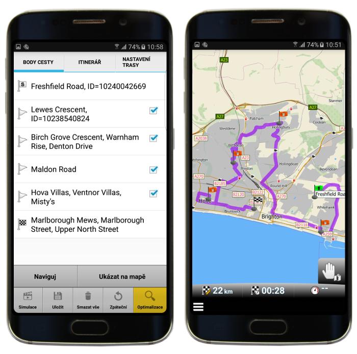 Optimalizovaná trasa s průjezdními body v mapFactor GPS Navigation