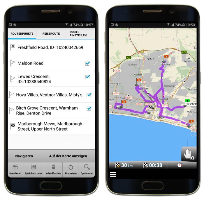 Nicht optimisierte Route mit Zwischenzielen in mapFactor GPS Navigation