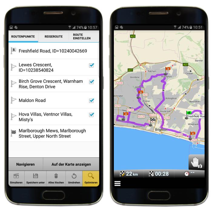Optimisierte Route mit Zwischenzielen in mapFactor GPS Navigation