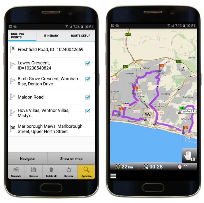 Optimised route with waypoints in mapFactor GPS Navigation