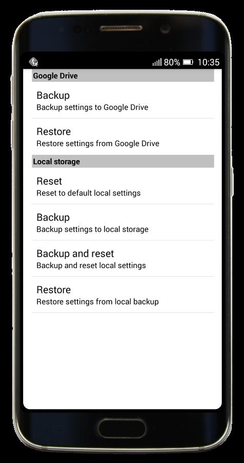 MapFactor Navigator - Menu - Backup and reset local settings