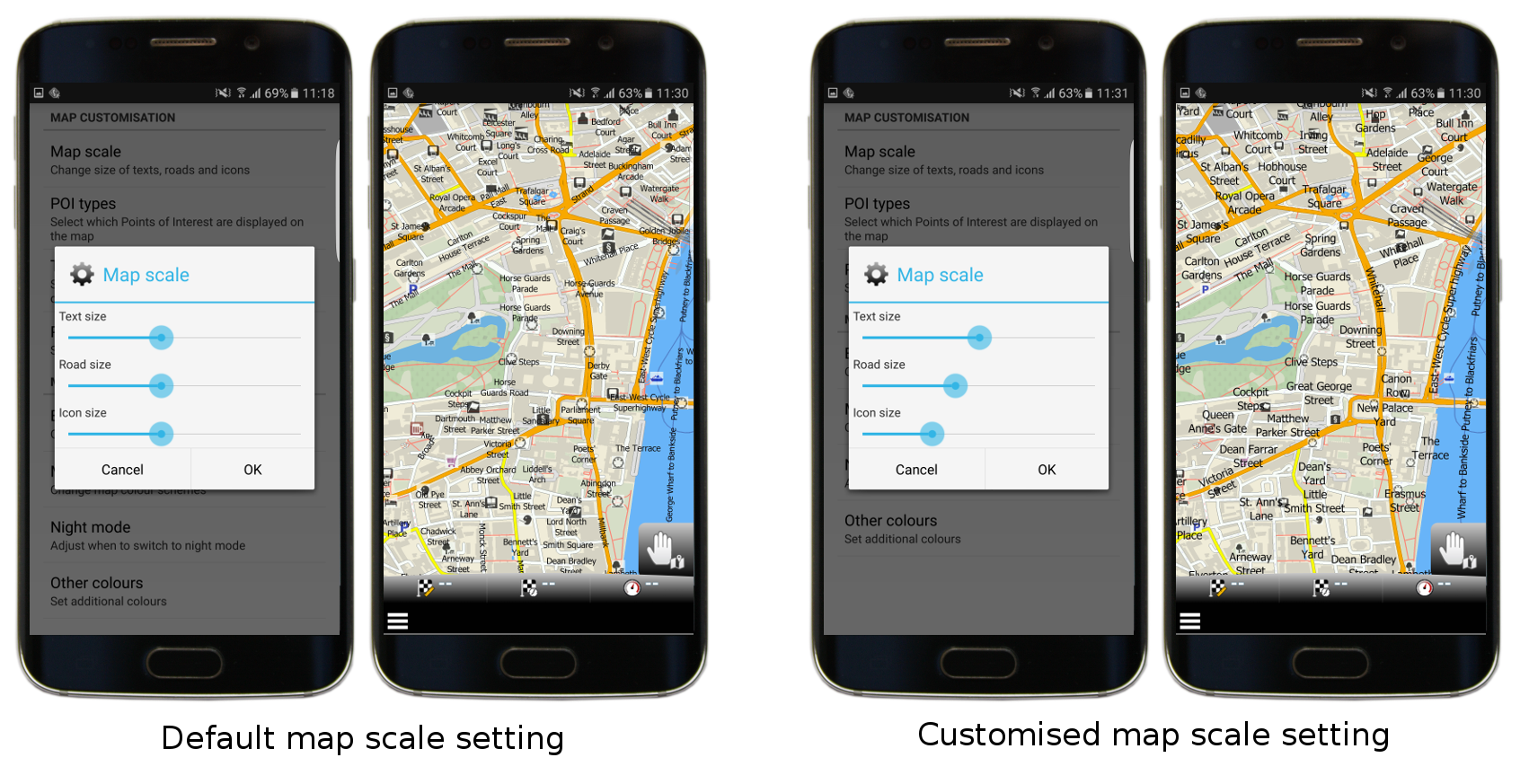 Map scale setting in mapfactor GPS Navigation app
