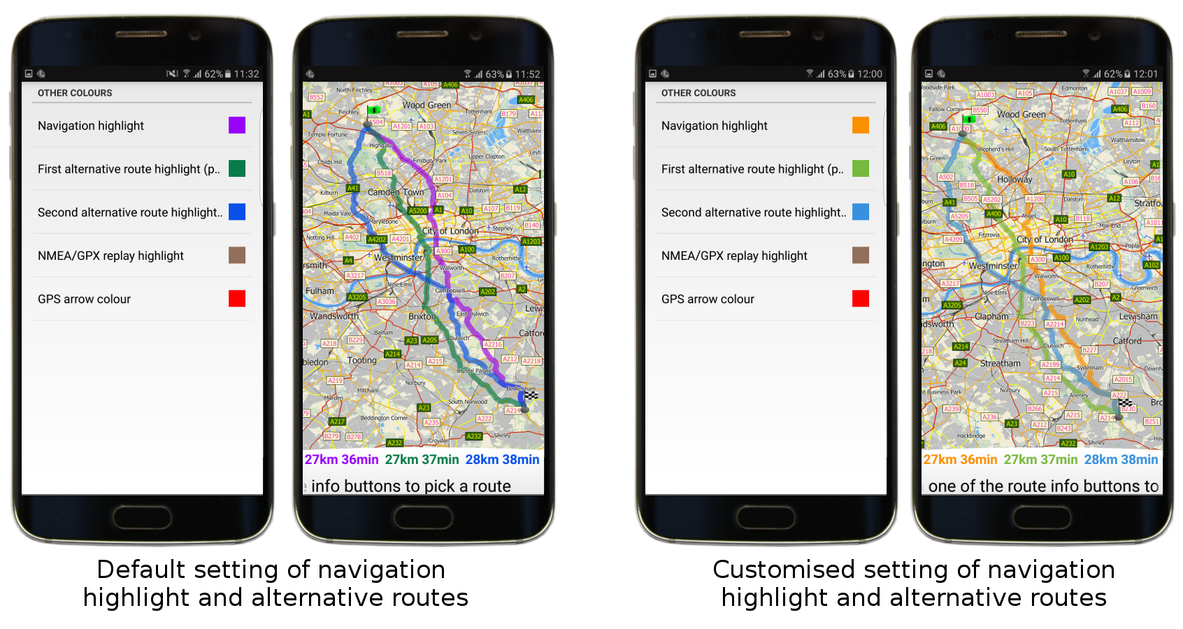 Setting of other colours in mapfactor GPS Navigation