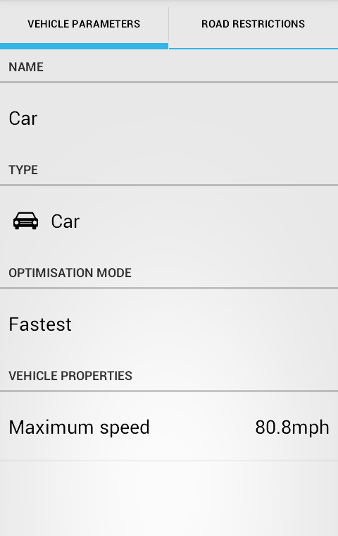 Screenshot - Car parameters