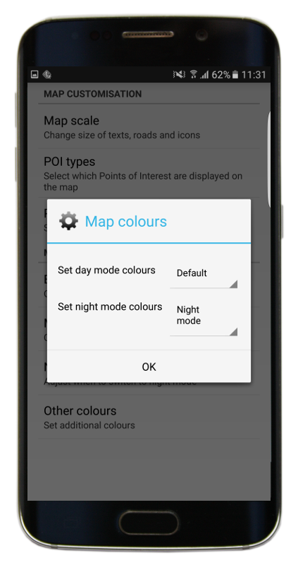 Map colours setting menu in mapfactor GPS Navigation app