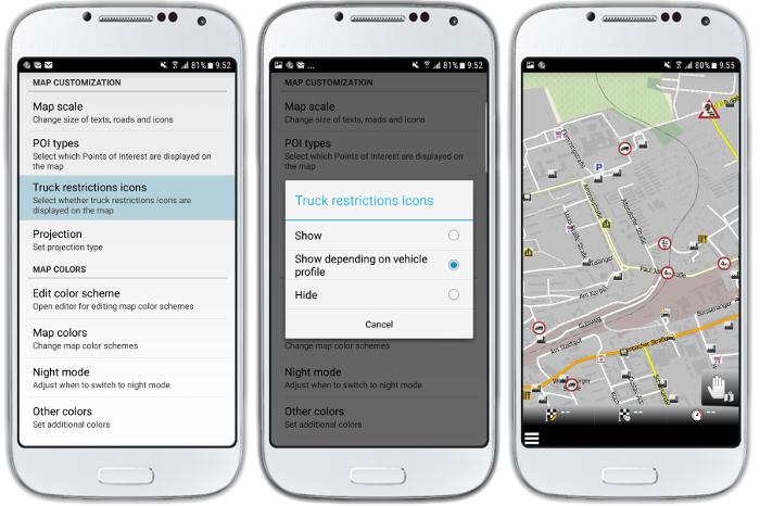 mapFactor Navigator 3.0 - Truck restriction icons