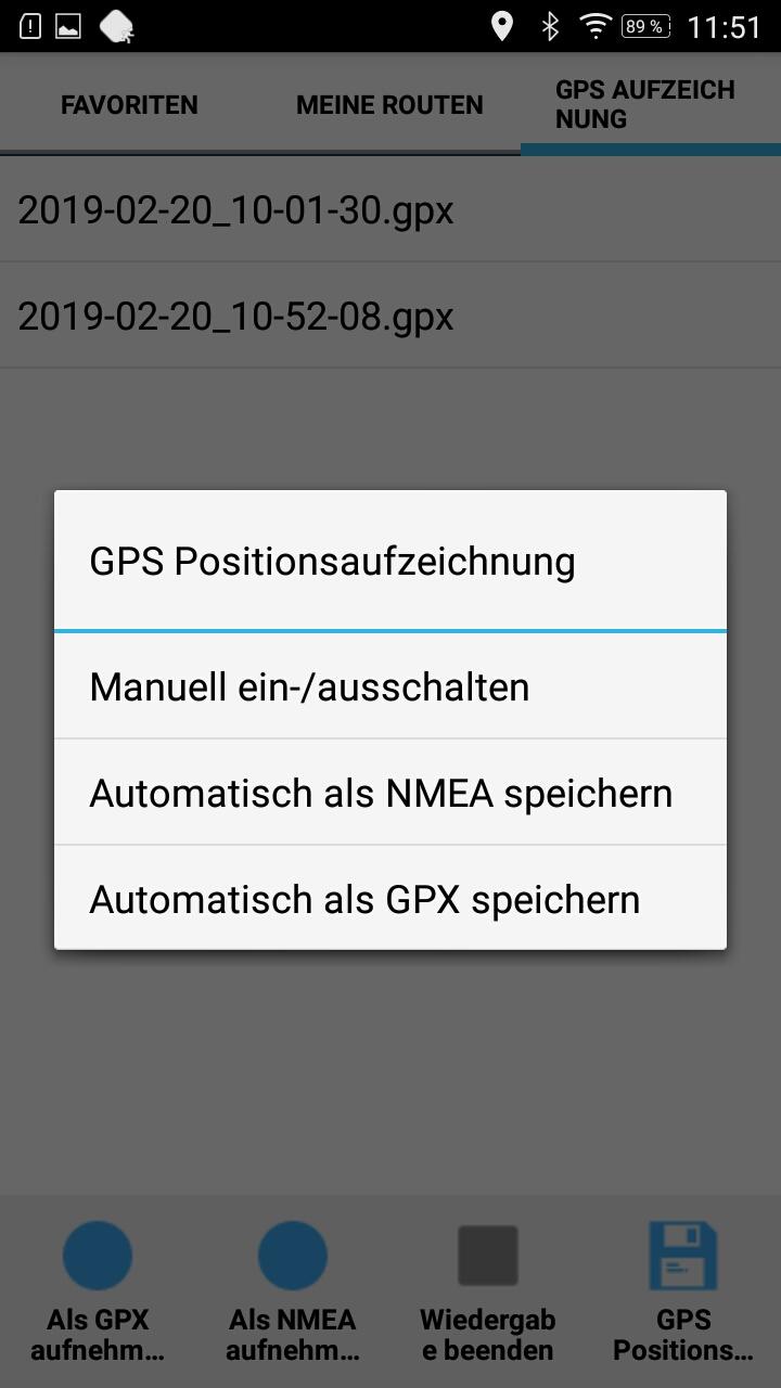 GPS Positionsaufzeichnung