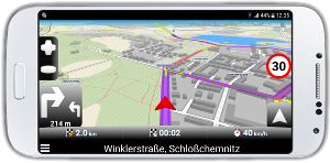 mapfactor Navigator - route recalculated because of traffic resctrictions, Chemnitz, Germany