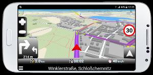 mapfactor Navigator - neuberechnete Route - Chemnitz, Deutschland