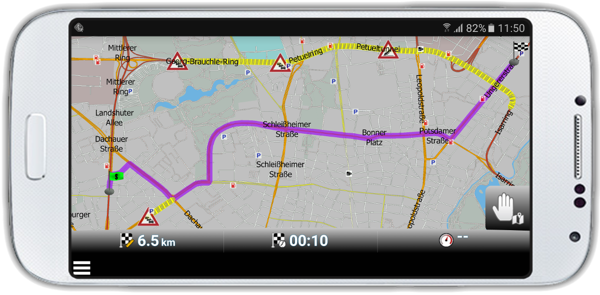 mapfactor Navigator - route optimisation with HD traffic, Munich, Germany