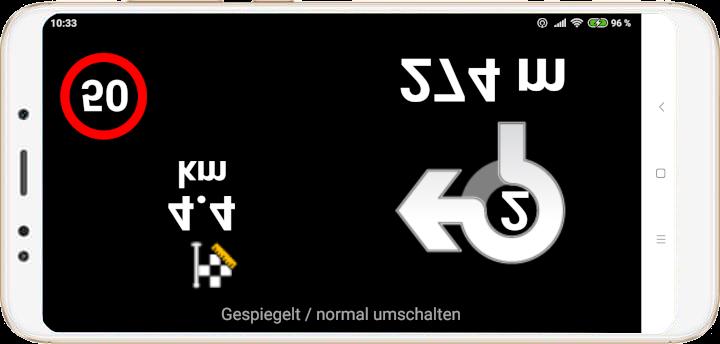 mapFactor Navigator 4.0 - Head-Up-Display Screen Kreisverkehr - gespiegelt