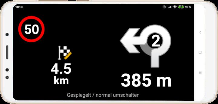 mapFactor Navigator 4.0 - Head-Up-Display Screen Kreisverkehr - normal