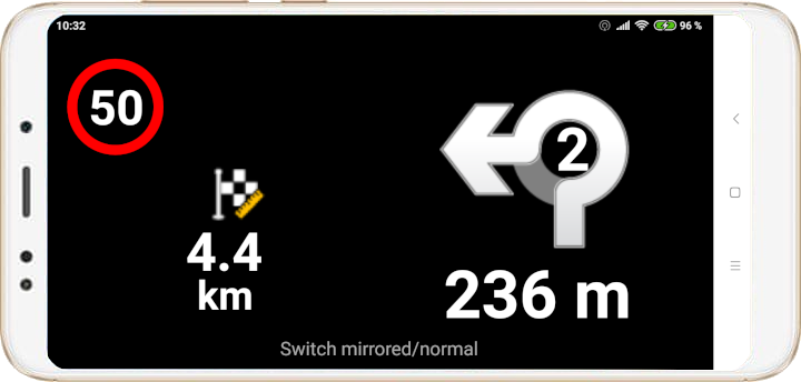 mapFactor Navigator 4.0 - Head-Up-Display screen roundabout normal