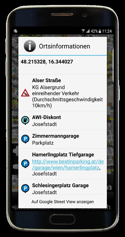 Navigator 3.1 Info-Dialog - GPS-Koordinaten und HD Traffic-Daten