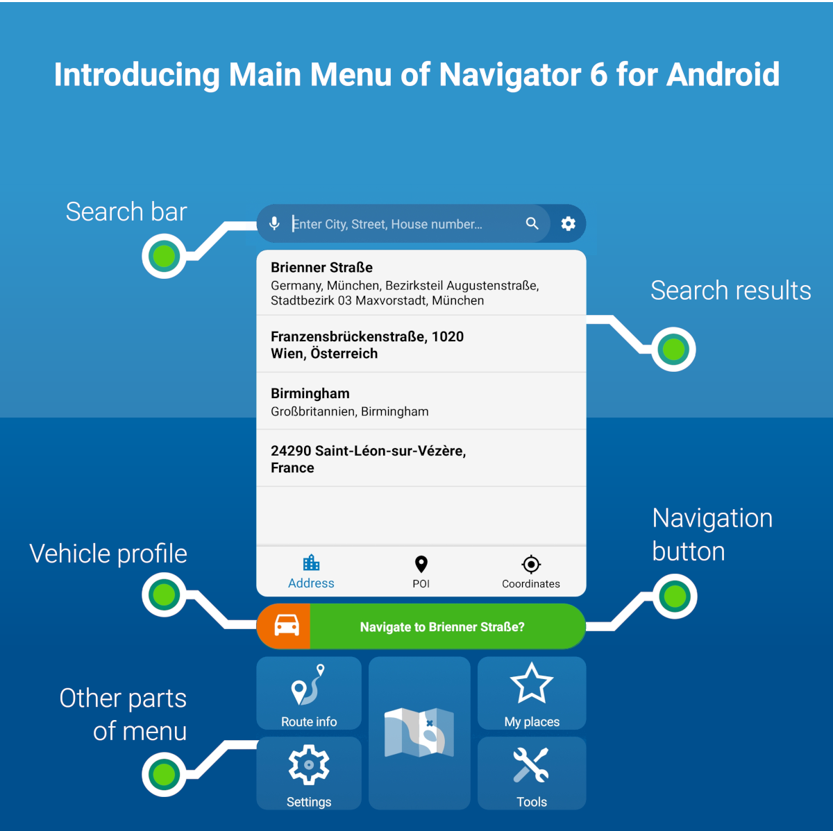 Introducing parts of the Main Menu of Navigator 6 for Android