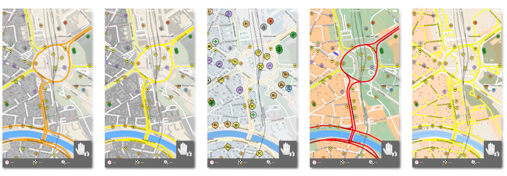 illustration of day map colour schemes of MapFactor GPS Navigation 1.7 for iOS