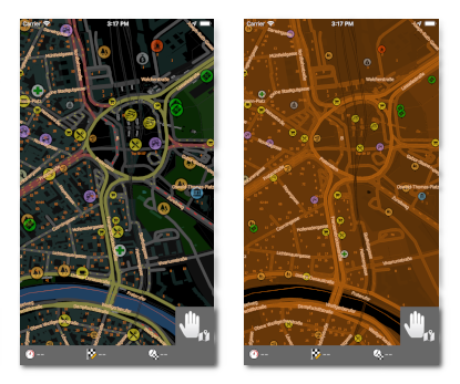 illustration of night map colour schemes of MapFactor GPS Navigation 1.7 for iOS