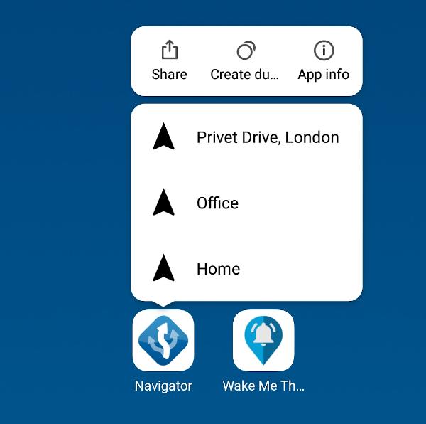 Mapfactor Navigator 6 - Dynamic shortcuts