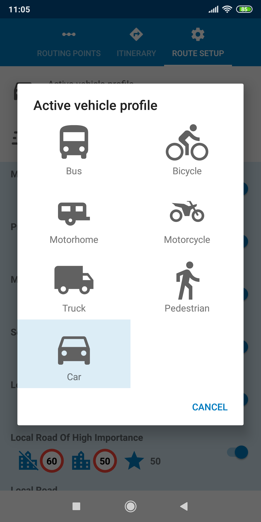 mapFactor Navigator 5.0 - Active vehicle profile default blue
