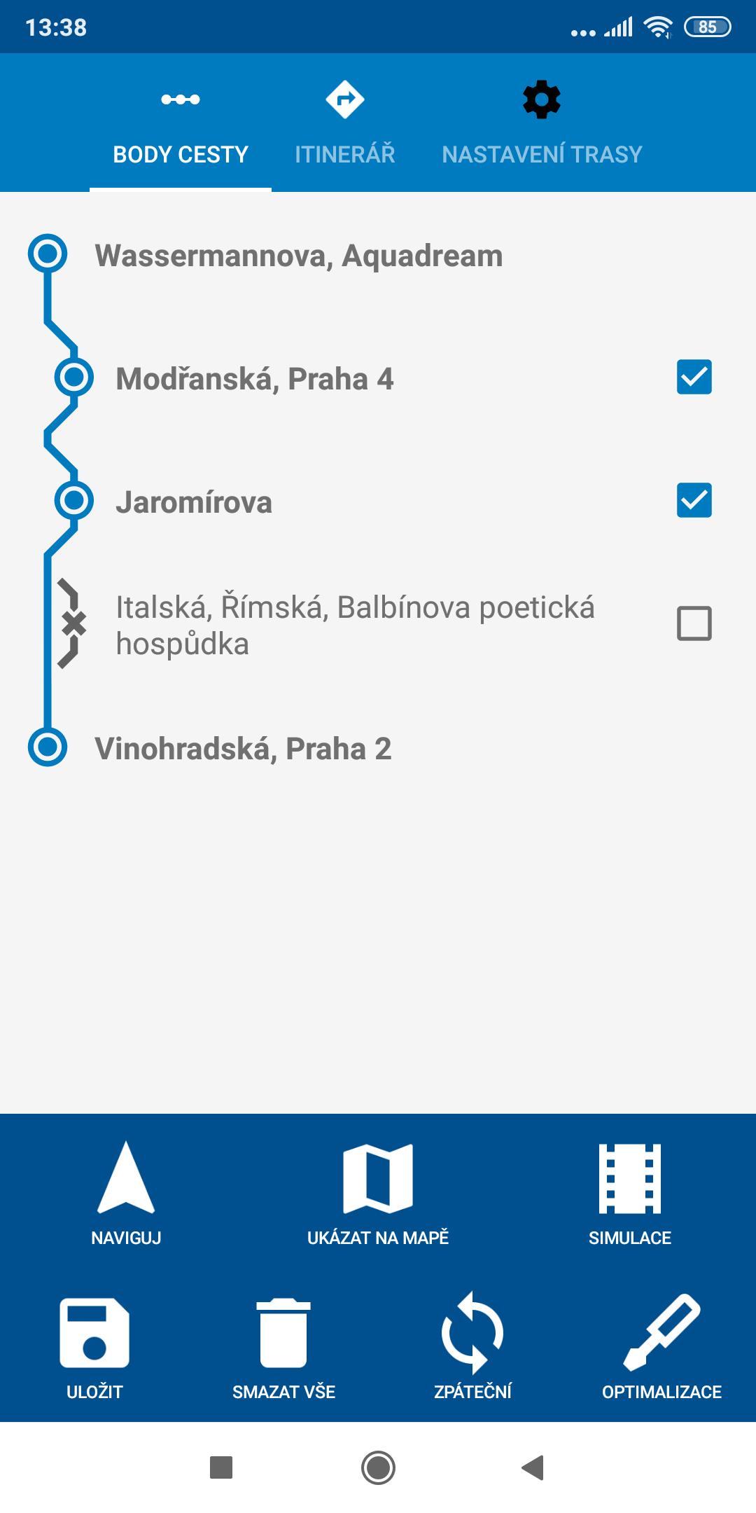 Screenshot mapFactor Navigator 5.0 - Body cesty - standardní modré téma
