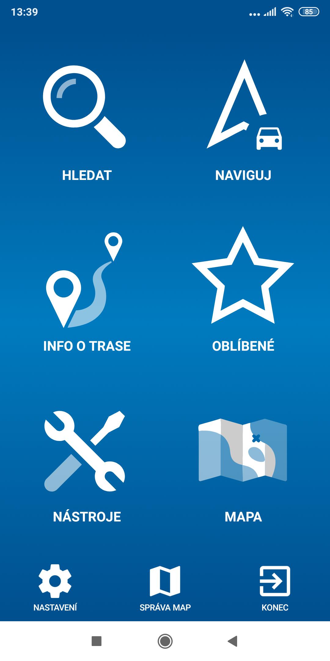 Screenshot mapFactor Navigator 5.0 - Menu - standardní modrá téma