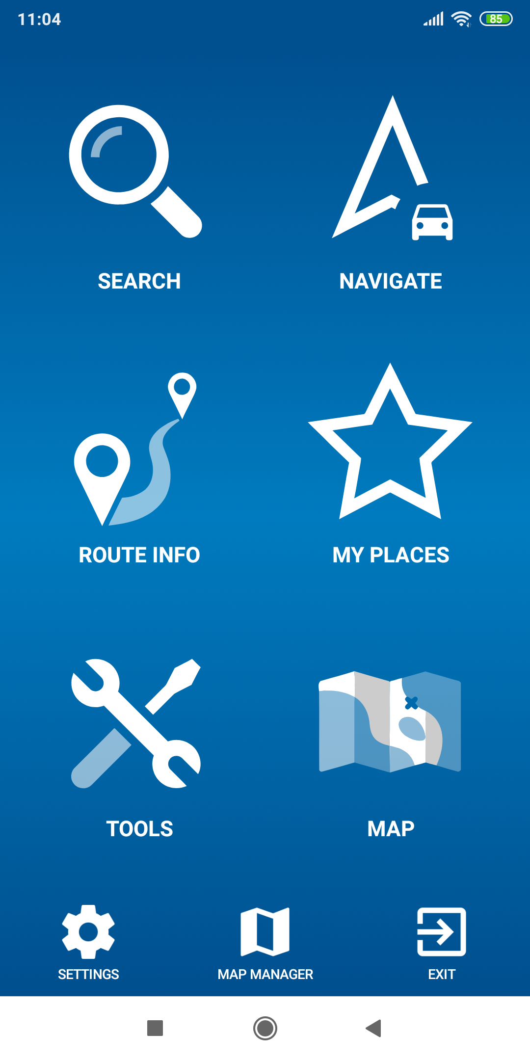 mapFactor Navigator 5.0 - default blue menu