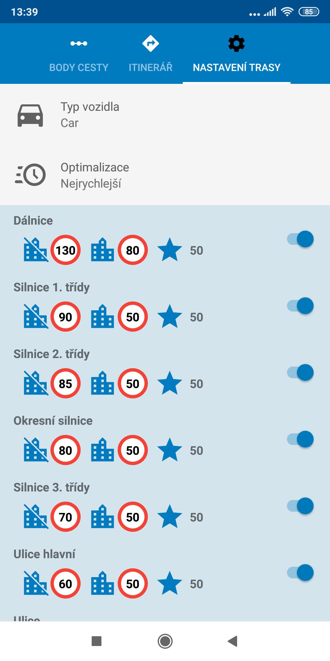 Screenshot mapFactor Navigator 5.0 - Nastavení trasy - standardní modré téma