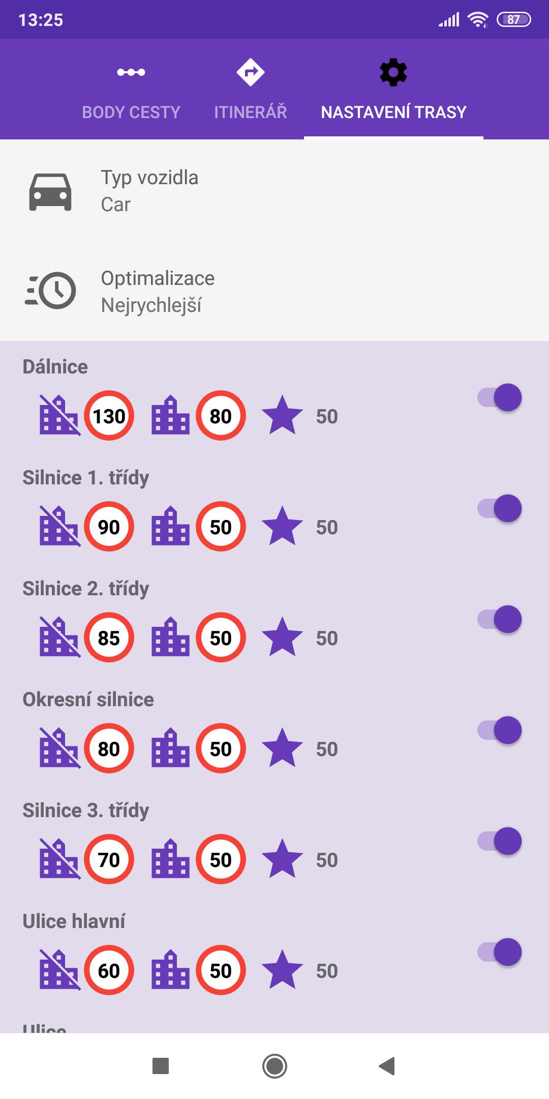 mapFactor Navigator 5.0 - Nastavení trasy - fialové schéma (premium)