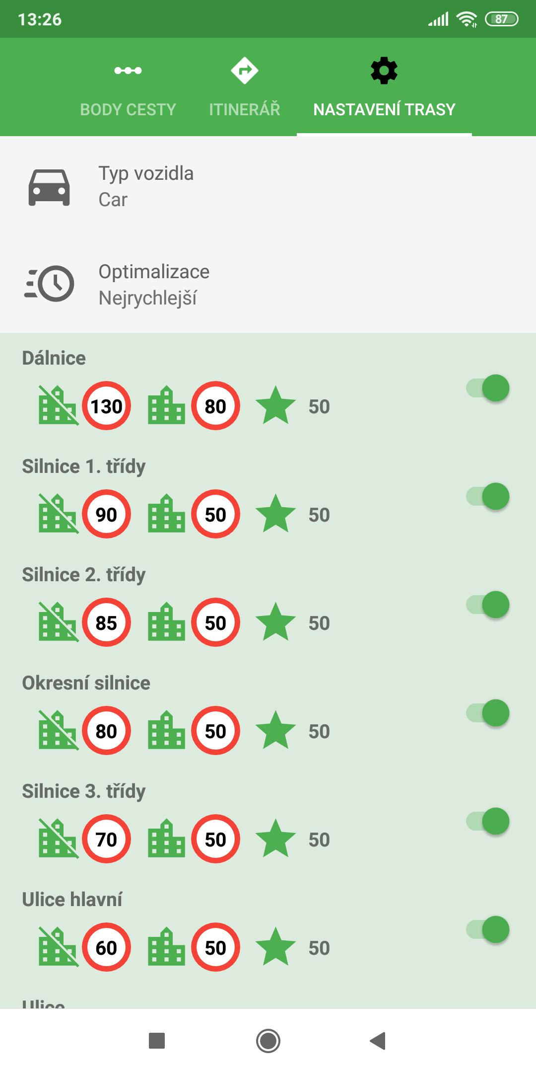mapFactor Navigator 5.0 - Nastavení trasy - zelená (premium)