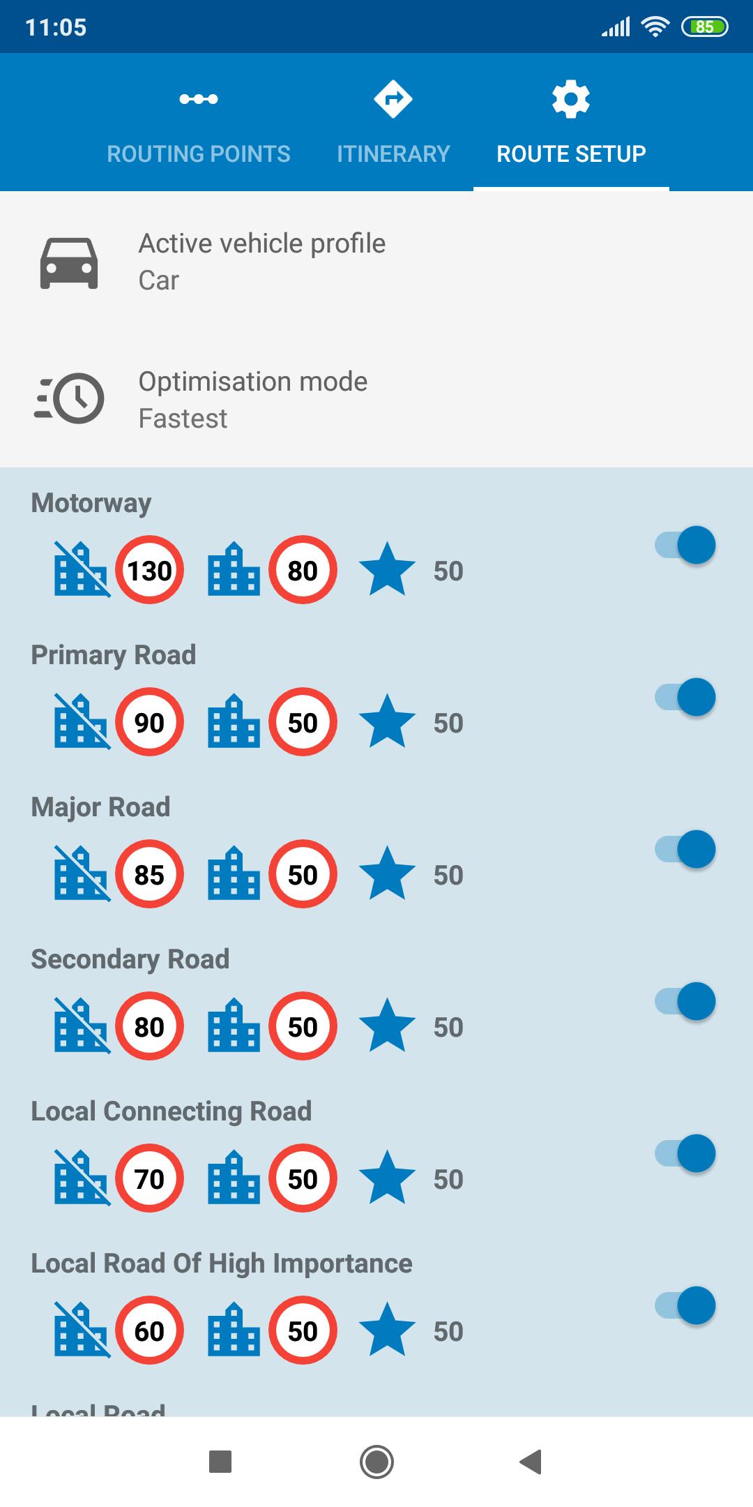 mapFactor Navigator 5.0 - Route setup default blue