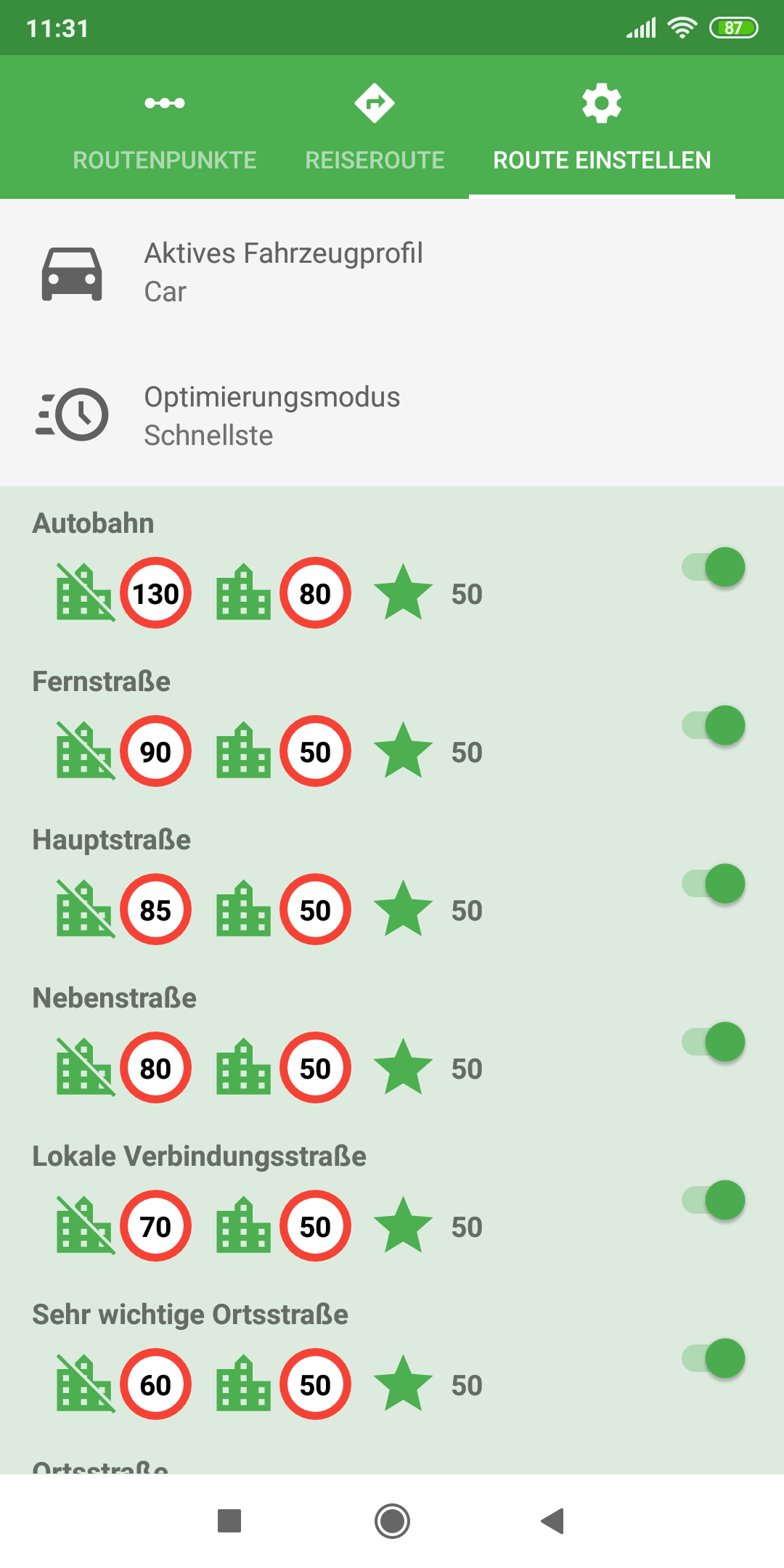 mapFactor Navigator 5.0 - Route setup - green app colour theme