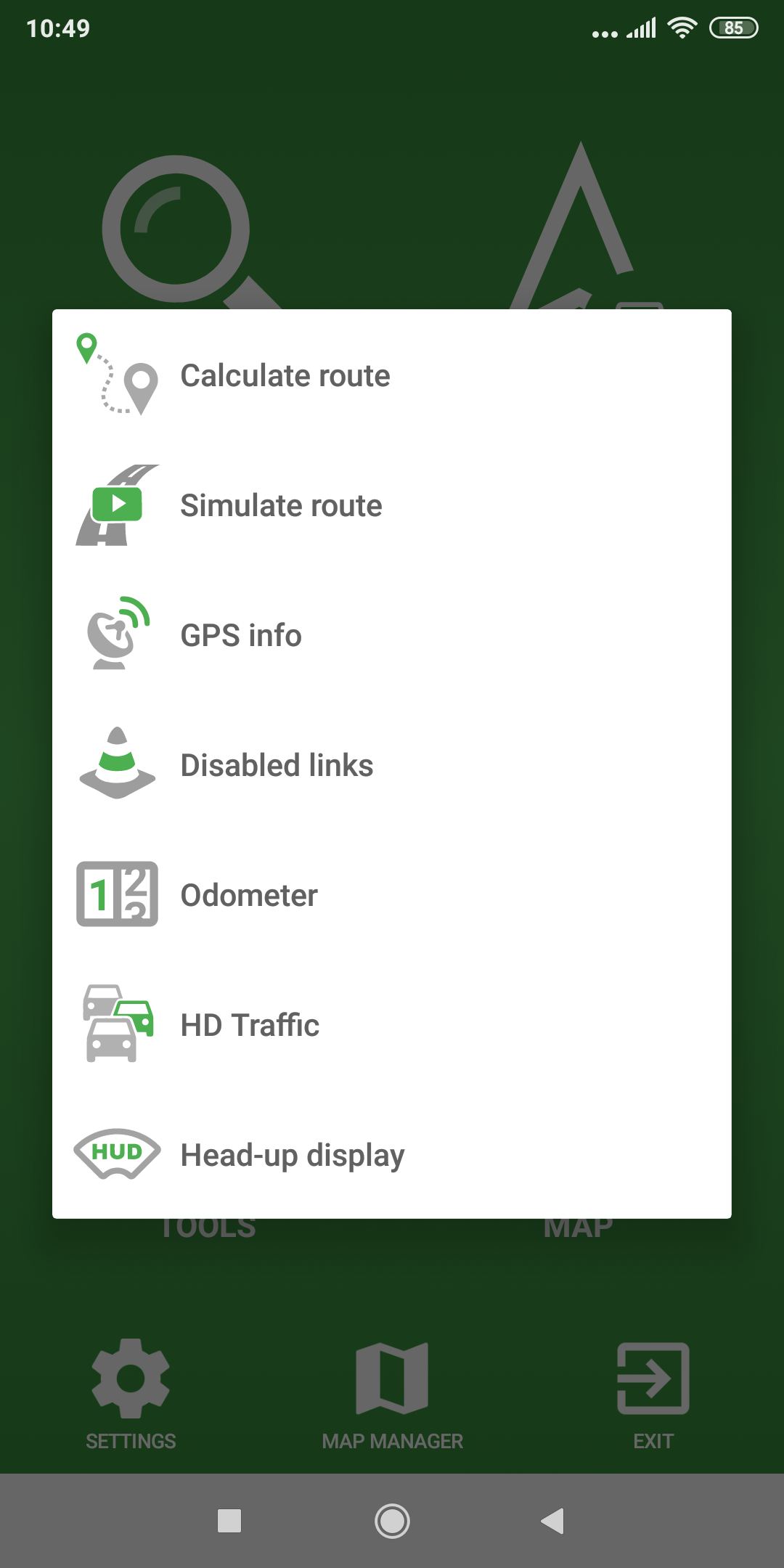mapFactor Navigator 5.0 - Tools - green app colour theme