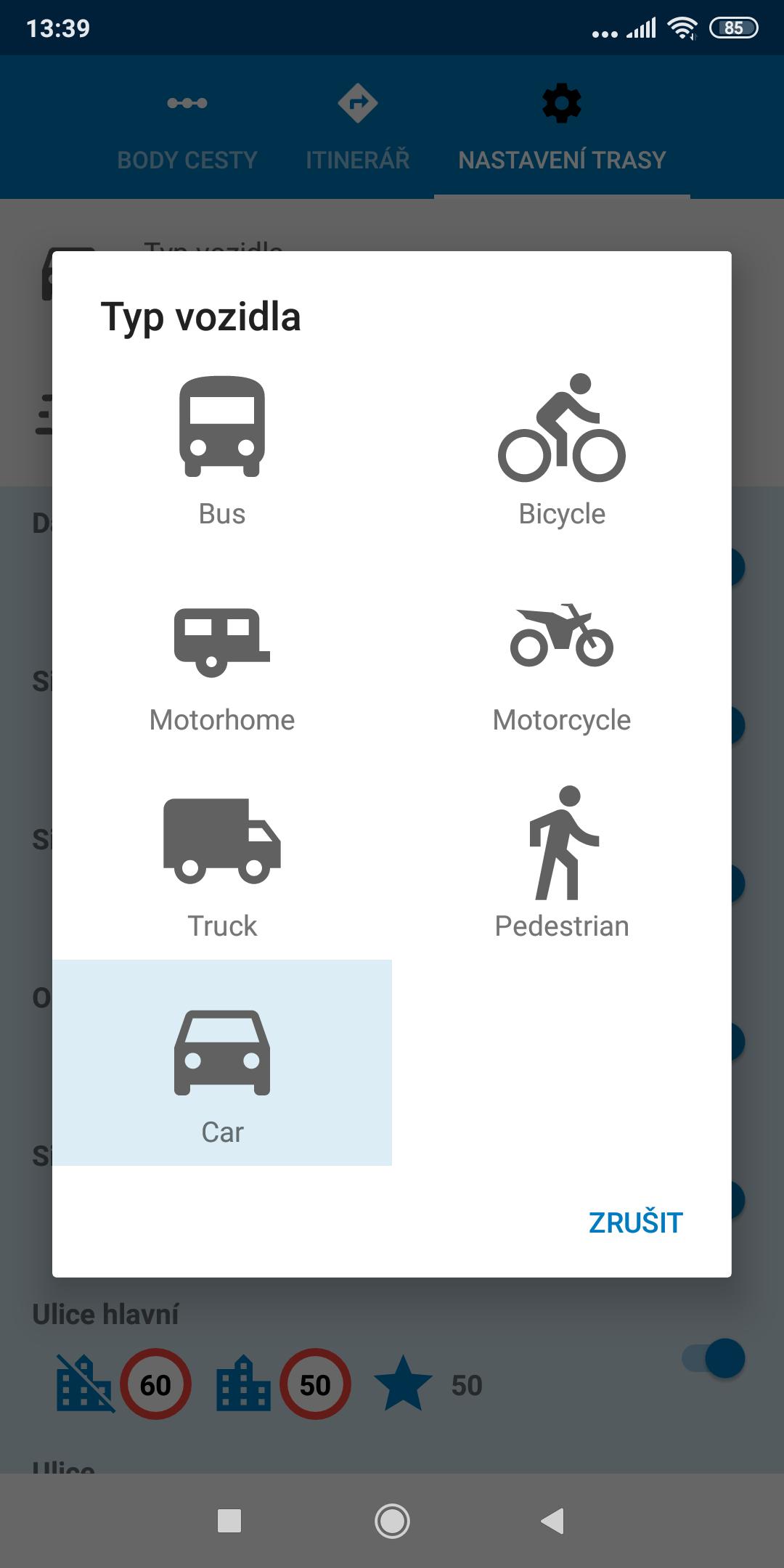 Screenshot mapFactor Navigator 5.0 - Typ vozidla - standardní modré téma