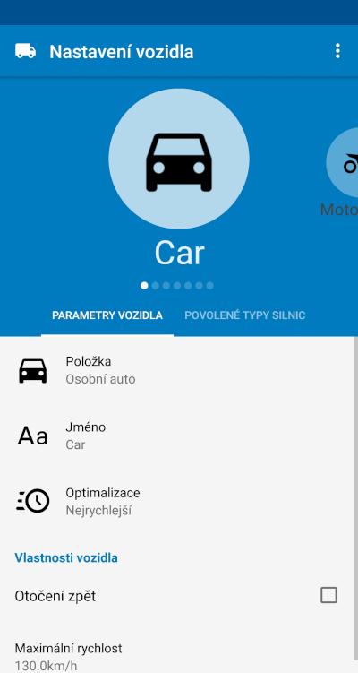 MapFactor Navigator 6 - Profil vozidla