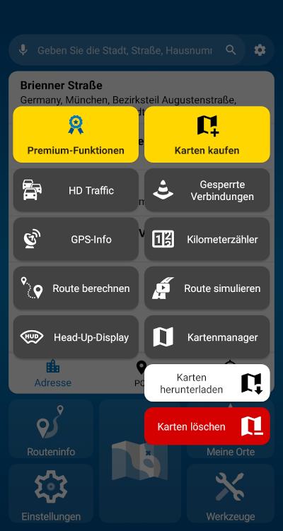 MapFactor Navigator 6 - Werkzeuge mit Kartenmanager