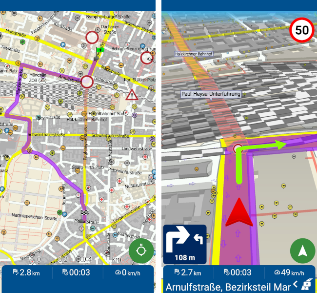 mapfactor Navigator - route recalculated because of traffic resctrictions, Germany