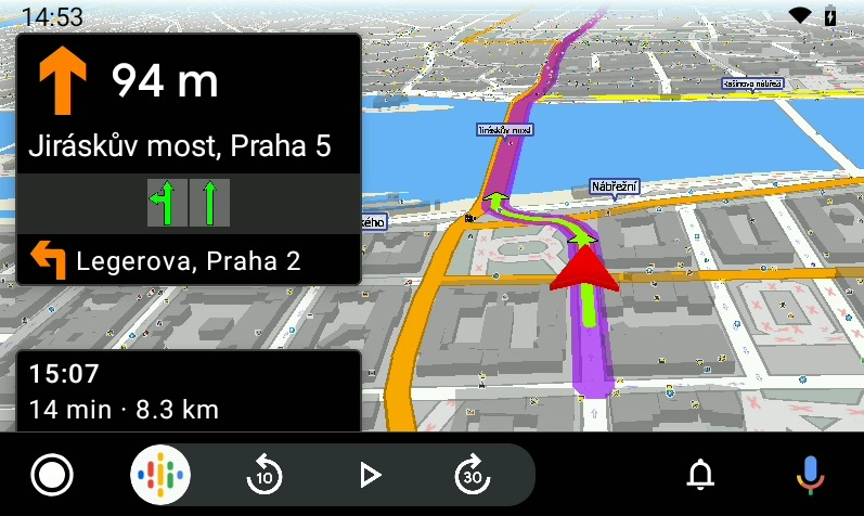MapFactor 7 for Android Auto - navigation Prague