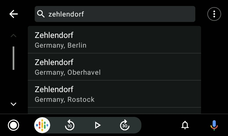 MapFactor 7 for Android Auto - one-line search